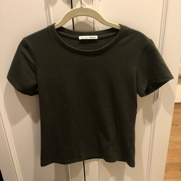 Reformation Tops - REFORMATION plain green tee
